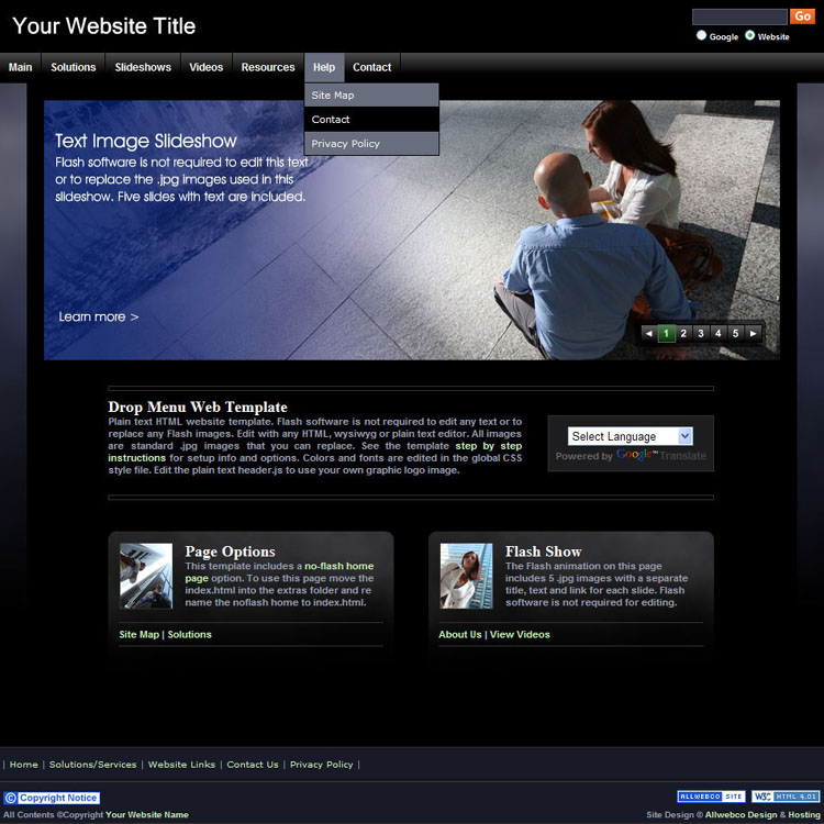 Website Templates Sample Bizzy Business Black