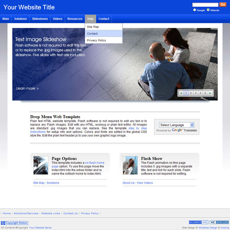 Website Templates Sample | Bizzy Business Blue