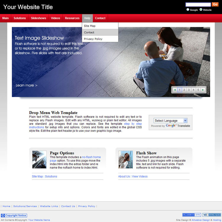 website templates sample bizzy business red
