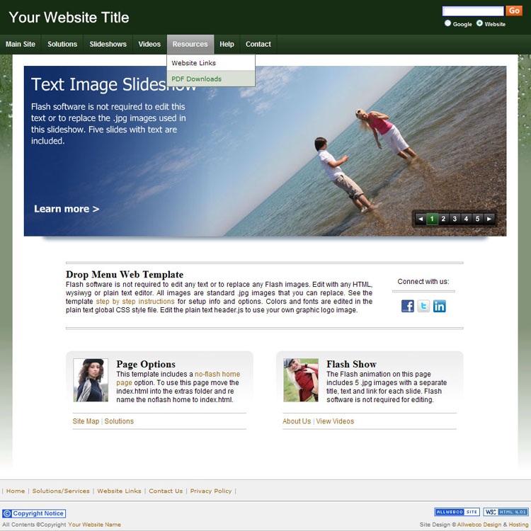 Business Websites Template Sample Our Earth Green